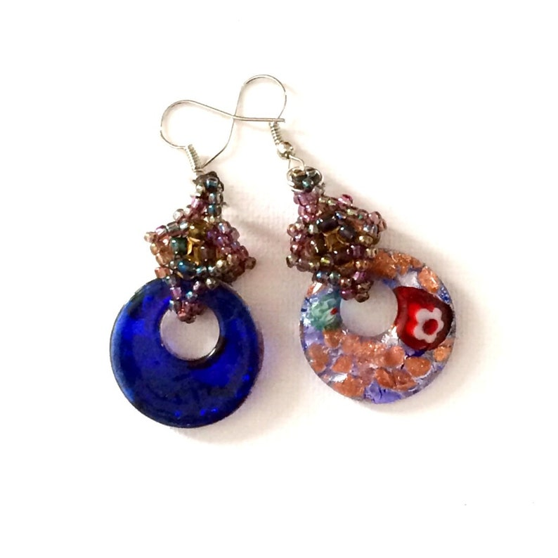 Handmade earrings. Millefiori Glass earrings with hand made image 0