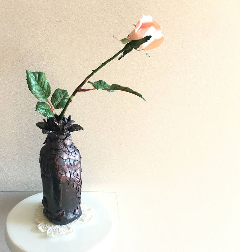 Vessel Faux Raku polymer clay Handmade home decor vase. image 0
