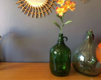 Bonbonne Dame Jeanne Jarre - En verre vert foncé - Capacité 5L - Déco vintage