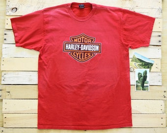 fa478a31 1996 HARLEY-DAVIDSON XL Faded Red Cotton T-Shirt Tee Omaha, Nebraska