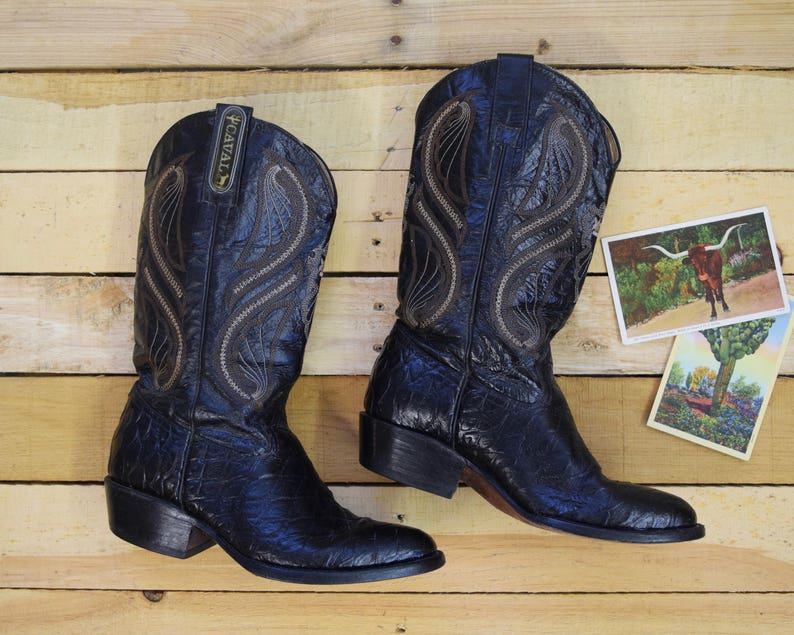 1a1793b13ee Vintage Men's 8 1/2 CAVAL Cowboy Boots Black Stamped Leather Western Mexico  8.5