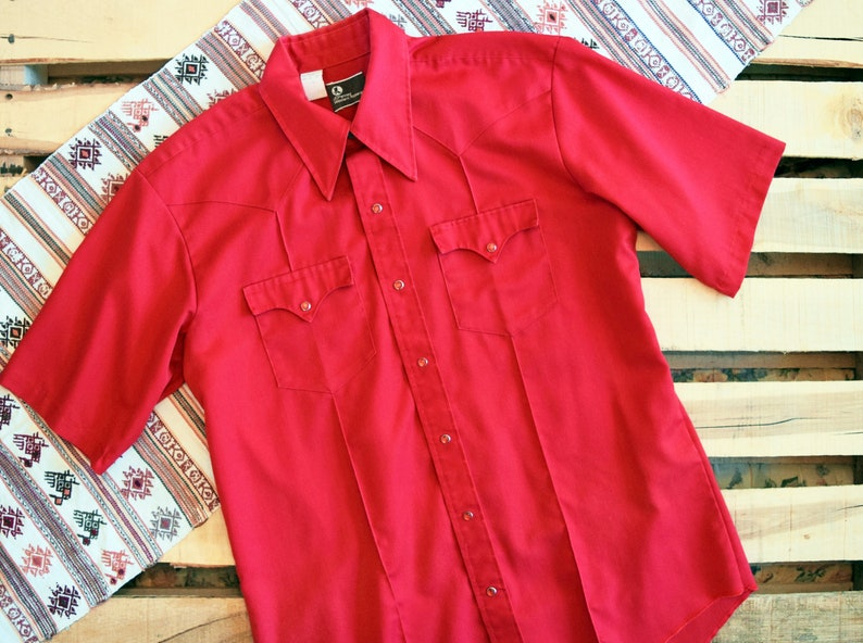 d62bbad4 70s JCPENNEY WESTERN XL 17 Red Short Sleeve Vintage Pearl Snap | Etsy