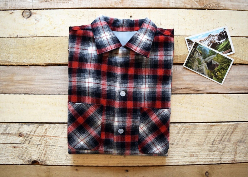 b1b0b6b00b69d3 Vintage 50s 60s Men's L-XL Red Black White Plaid Check | Etsy
