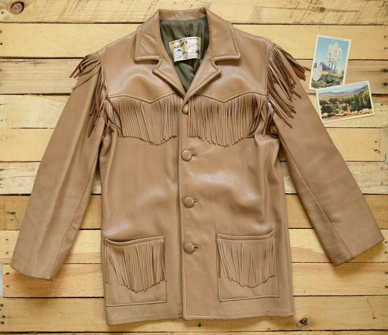 d44ee2cd9 1960s Men's M 40 Short Deerskin Vintage Tan Buckskin Fringe Jacket HELDT'S  Sioux Falls, S.D.Hunting Outdoors