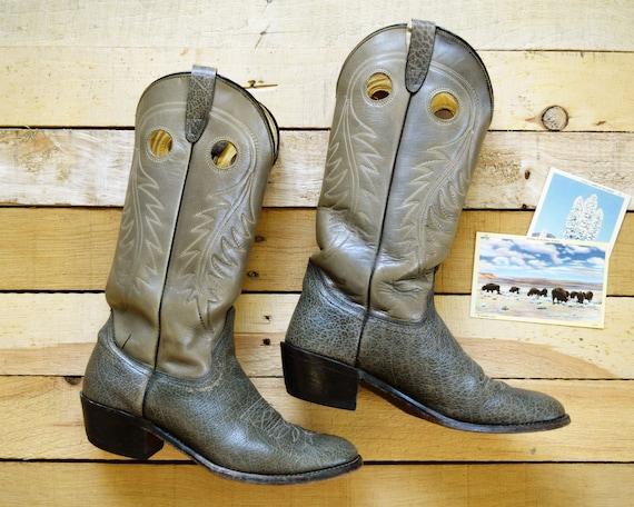 Mannen 9 D vintage cowboy laarzen licht Tan Gray Leather Western