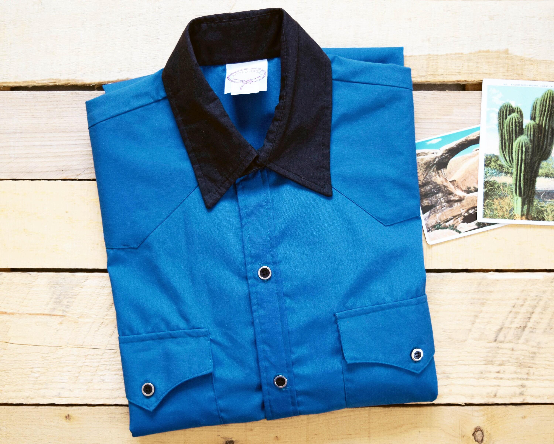 536b5ce88 RODEO RAGZ Men's M/L Blue Black Button Down Western Cowboy | Etsy