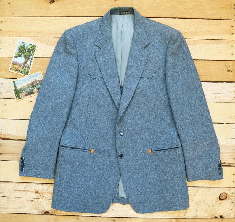 d4ec0c19e37 Des années 70 42R grand gris bleu Christian Brooks pour homme