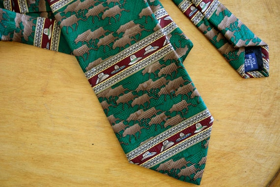 Men's Vintage Cattle Herd Cowboy Hats Silk Necktie