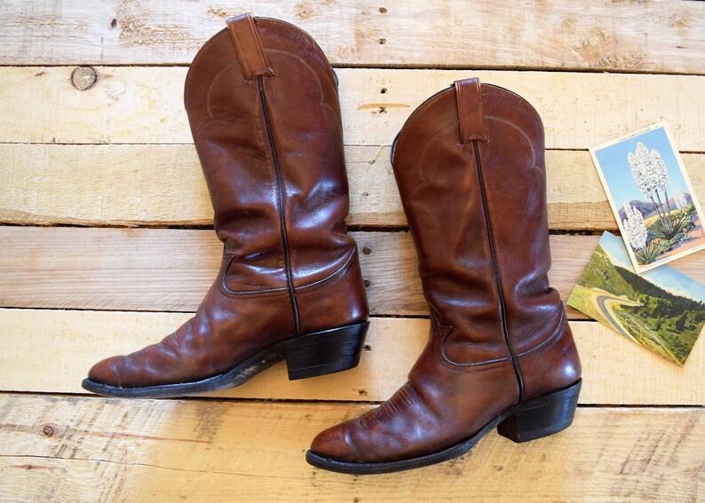 ff38b08028f Men's 8 EE (Extra Wide) Vintage Tony Lama Brown Leather Cowboy Western  Boots Black Label El Paso Texas U.S.A.