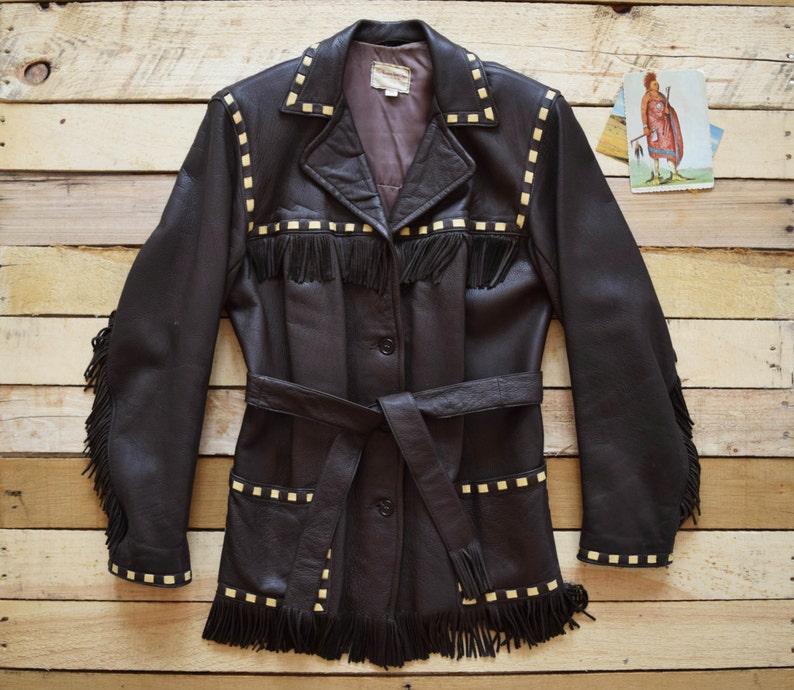 0fe559a19 50s/60s Deerskin Vintage Size 36 Dark Brown Buckskin Fringe Jacket  Mid-Western Sport Togs Berlin, Wisconsin