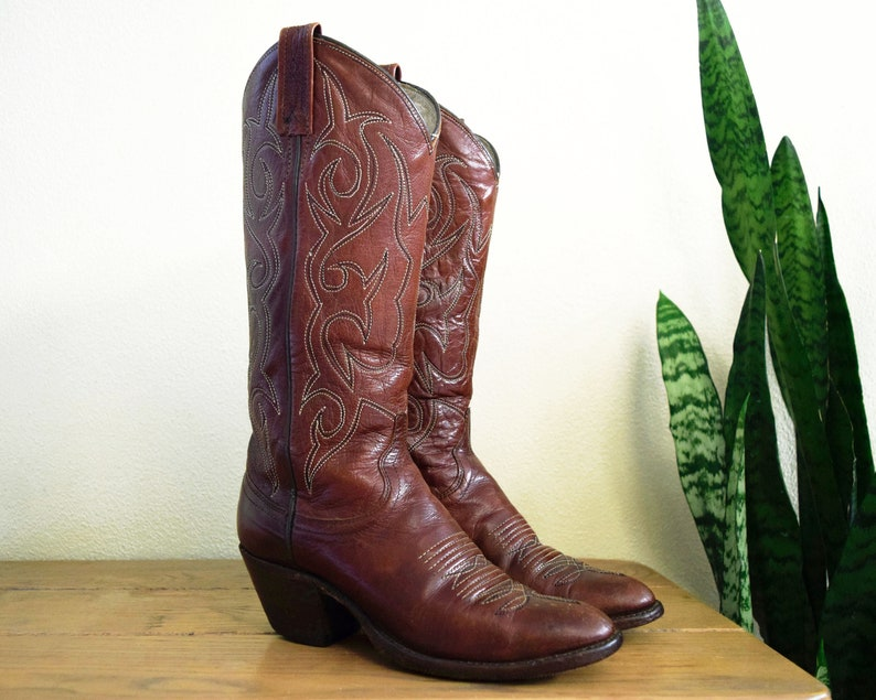 3d2da47dd0a DAN POST Women's 5 Tall Brown Leather Cowboy Boots Western Cowgirl Stacked  Heel