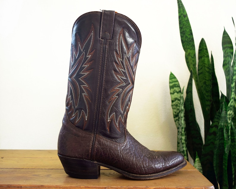 Men/'s 9 D Double H Vintage Cowboy Boots Chocolate Brown Bullhide Leather 5-Stitch Tops Western Made in USA