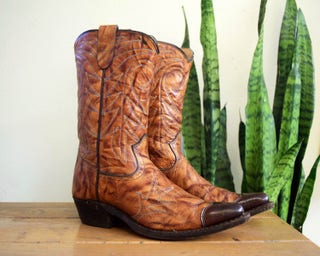 60s TEXAS 4 D Youth (Women's 5.5) Vintage Brown Leather Cowboy Boots with Wingtips Western Big Kids
