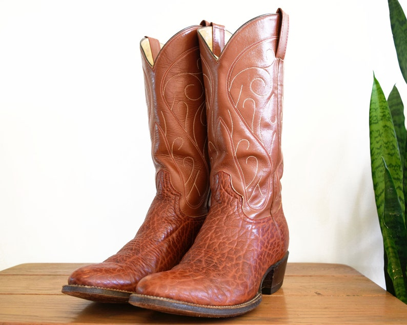 Men's est. 10 10.5 Sienna Brown Leather Cowboy Boots Made in Mexico Vintage Western