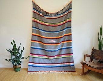 "60s 70s Vintage Saltillo Wool Cotton Blanket Textile Gray Rainbow Mexico Fringe 57.5"" x 89"""