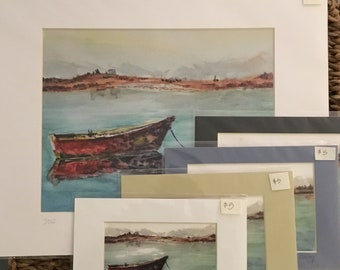 Matted Row Boat Watercolor Print, Cape Cod Landscape, Red Boat Reflection