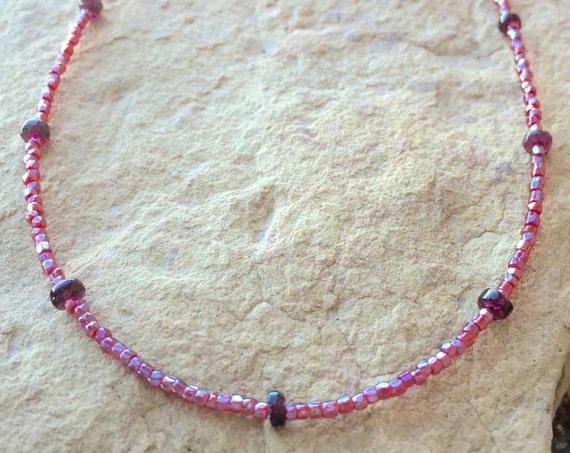 Beautiful red necklace, seed bead necklace, garnet necklace, sundance necklace, gemstone necklace, layering necklace, gift for her, boho