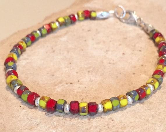 Multicolored bracelet, three-cut glass bead bracelet, Hill Tribe silver bracelet, boho bracelet, yoga bracelet, gift for her, gift for wife