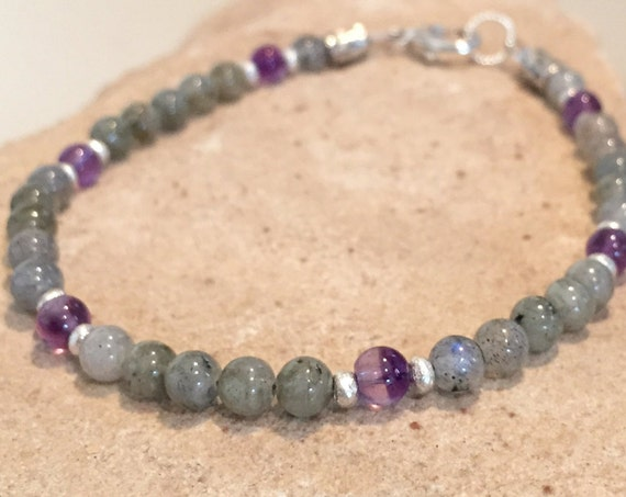 Gray and purple bracelet, labradorite and amethyst bracelet, Hill Tribe silver bracelet, natural bracelet, gemstone bracelet, sundance