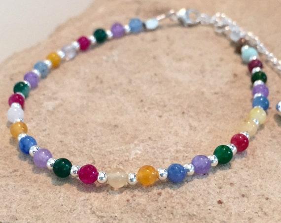 Multicolored bracelet, agate bead bracelet, silver bracelet, sundance bracelet, gemstone bracelet, colorful bracelet, gift for her, boho