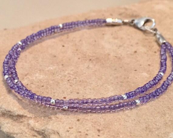 Purple double strand seed bead bracelet, sterling silver bracelet, dainty bracelet, seed bead bracelet, boho bracelet, gift for her