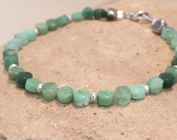 Green bracelet, chrysoprase beads, Hill Tribe silver bracelet, statement bracelet, sundance bracelet, silver bracelet, gift for her, boho