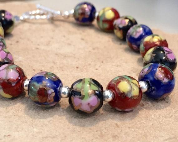 Blue, red and black ceramic bead bracelet, sterling silver bracelet, chunky bracelet, statement bracelet, floral bracelet, gift for her