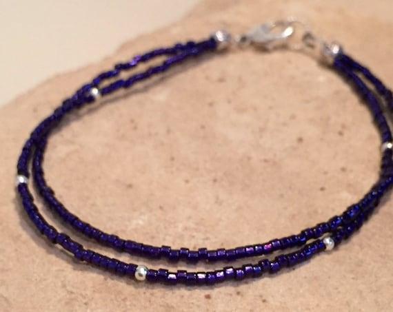 Purple double or single strand seed bead bracelets, Miyuki seed bead bracelets, boho bracelet, yoga bracelet, sterling silver bracelet
