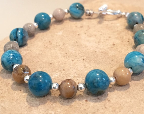 Blue and brown bracelet, agate bracelet, natural stone bracelet, sterling silver bracelet, statement bracelet, chunky bracelet, gift for her