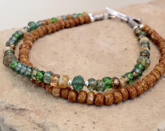 Multicolored seed bead bracelet, double strand bracelet, sterling silver bracelet, Hill Tribe silver bracelet, boho style bracelet, gift