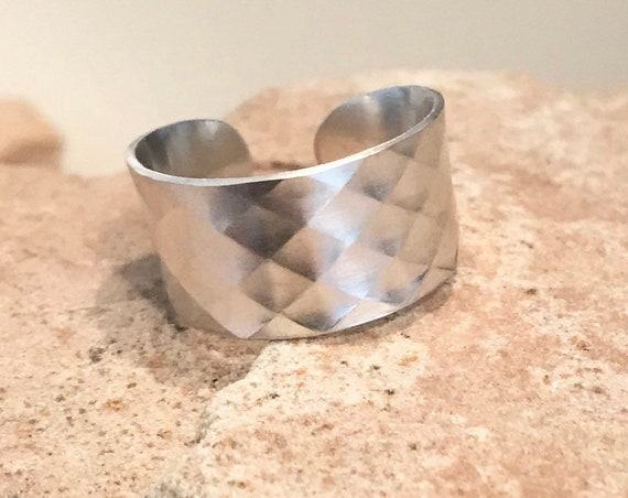 Wide sterling silver ring, sterling silver adjustable ring, sterling silver ring, patterned sterling silver ring, gift for her, silver band