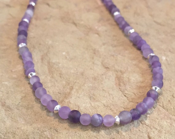 Purple necklace, amethyst necklace, sterling silver necklace, boho necklace, everyday necklace, gift for her, chic necklace, bead necklace