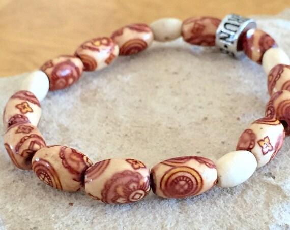 Wood bracelet, bracelet for runner, athlete bracelet, gift for runner, stretch bracelet, elastic bracelet, gift for athlete, gift for her