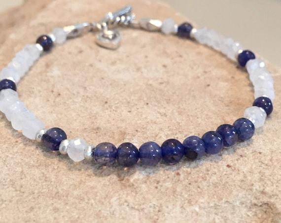 Blue bracelet, white bracelet, iolite bracelet, moonstone bracelet, Hill Tribe silver bracelet, charm bracelet, gemstone bracelet, boho chic