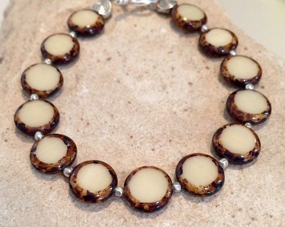 Brown and silver bracelet, Czech glass bead bracelet, coin shaped bead bracelet, sterling silver bracelet, fall bracelet, gift for her