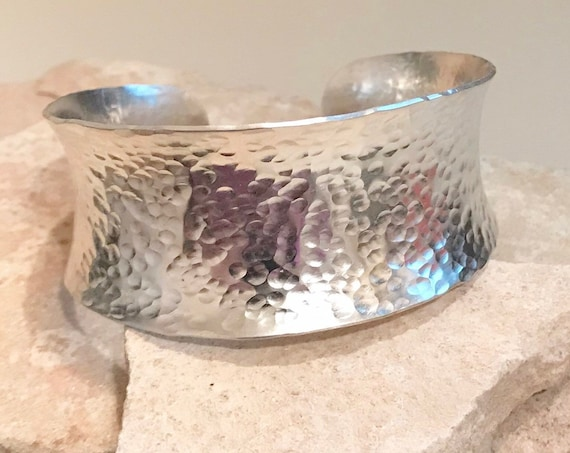 Wide hammered sterling silver cuff bracelet, anticlastic cuff bracelet, hammered bracelet, sterling silver bangle, hammered bangle bracelet