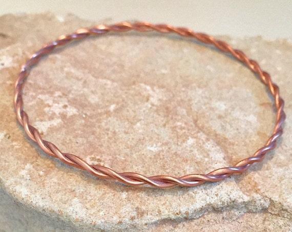 Copper bangle bracelet, twisted bangle bracelet, stackable copper bracelet, stackable bangle, small copper bracelet, gift for her