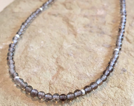 Gray necklace, labradorite necklace, Hill Tribe silver necklace, layering necklace, delicate necklace, sundance necklace, gift for her