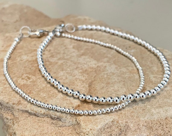 Silver bead bracelet, dainty bracelet, small bracelet, sterling silver bracelet, sundance bracelet, gift for her, gift for wife, boho chic