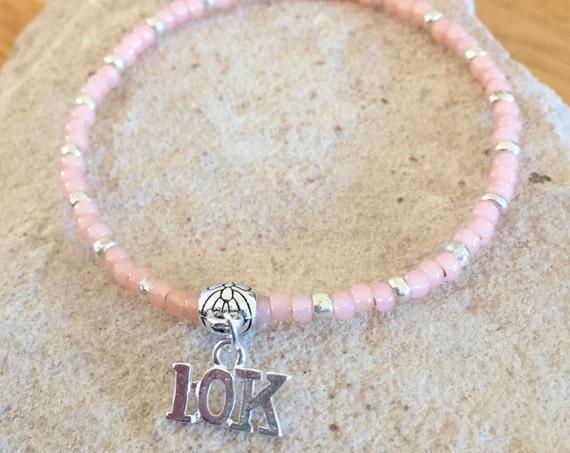 Pink or tan seed bead bracelet, sport bracelet, bracelet for runner, bracelet for athlete, 10K charm, charm bracelet, elastic bracelet