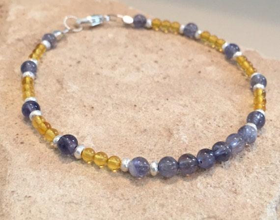 Blue and yellow bracelet, amber bracelet, iolite bracelet, Hill Tribe silver bracelet, sterling silver bracelet, gemstone bracelet, boho