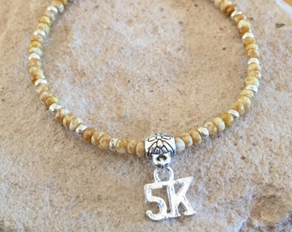 Tan or pink seed bead bracelet, bracelet for runner, bracelet for athlete, 5K charm, charm bracelet, stretch bracelet, elastic bracelet