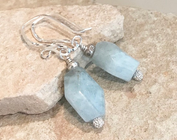 Green earrings, aquamarine earrings, Hill Tribe silver earrings, chunky earrings, sundance earrings, gift for her, gift for wife, boho chic