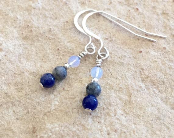 Blue and gray drop earrings, sodalite earrings, agate earrings, gemstone earrings, opal earrings, sudance earrings, silver earrings