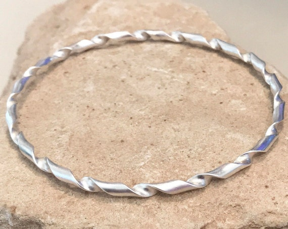 Sterling silver bangle bracelet, twisted bangle bracelet, stackable sterling silver bracelet, stackable bangle, gift for her simple bracelet