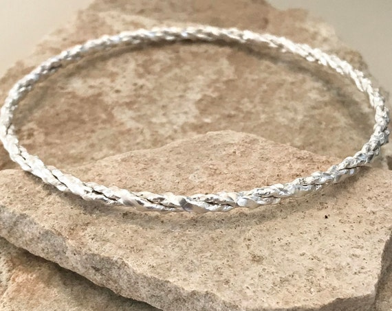 Sterling silver twisted bangle bracelet, twisted bangle bracelet, stackable sterling silver bracelet, sterling silver bangle, gift for her