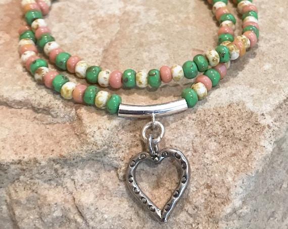 Multicolored double strand bracelet, seed bead bracelet, Hill Tribe silver bracelet, boho bracelet, sundance bracelet, charm bracelet