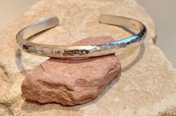 Sterling silver hammered cuff bracelet, hammered bracelet, stackable sterling silver bracelet, stackable bracelet, gift for her, boho chic