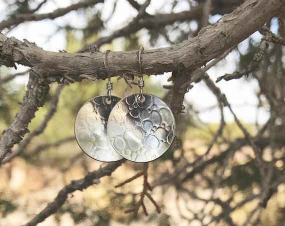 Pretty sterling silver drop earrings, silver dangle earrings, handmade sterling silver earrings, round earrings, gift for her, gift for wife
