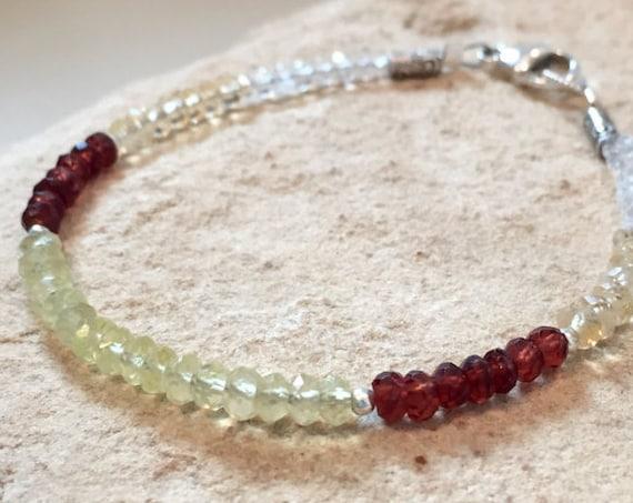 Multicolored bracelet, gemstone bracelet, Hill Tribe silver bracelet, garnet bracelet, yellow bracelet, sundance bracelet, gift for her